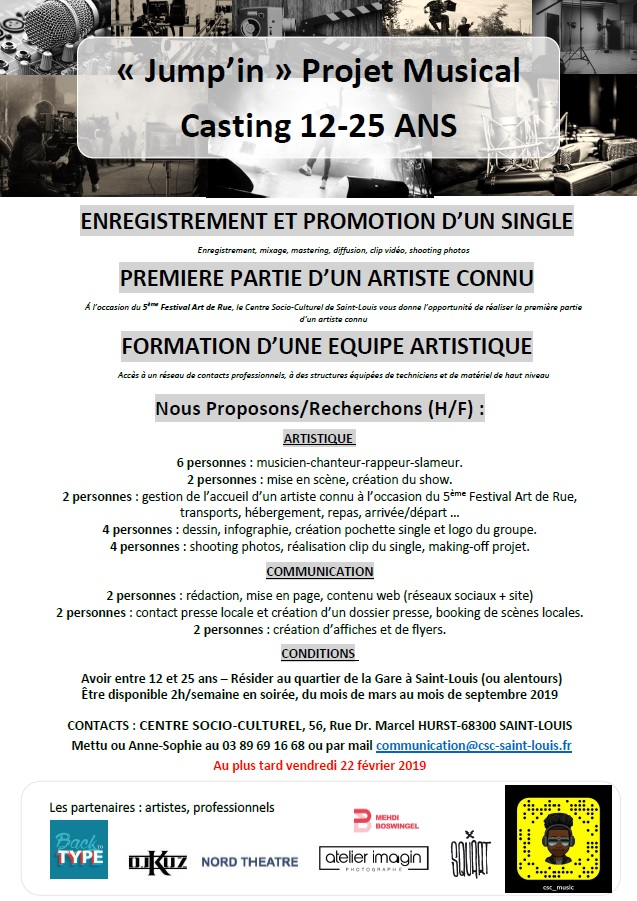 JUMP'IN PROJET MUSICAL 12-25 ANS
